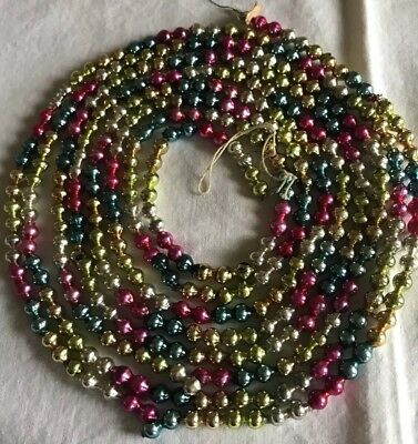 Vintage Christmas Mercury Glass Bead Garland Multi Colored 102 inches