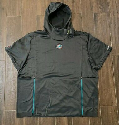 Nike NFL Miami Dolphins Therma Top Short Sleeve Hoodie 906847-060 Men's SZ XL