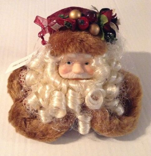 """""""NEW! AWESOME TAN & MAUVE SANTA CLAUS WITH SOFT CURLY BEARD CHRISTMAS ORNAMENT"""