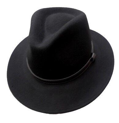 Herren Woll Hut schwarz  Klassiker Traveller Fedora - Fedora Hut Schwarz