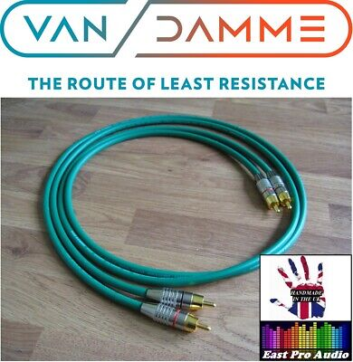 2m Pair - Van Damme RCA Phono Cables - Pro Grade Silver...