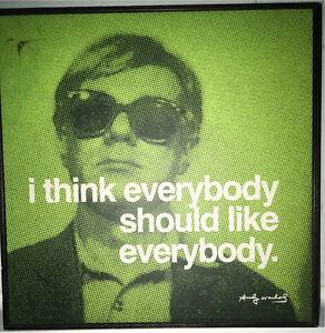 Two Andy Warhol framed and laminated quote prints