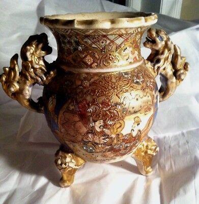 "Large 7"" Samari Nippon Moriage 2 Handle Vase Urn Hand Painted ASIS"