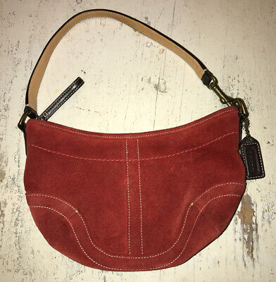 Coach Convertible Ruby Red Suede Shoulder/Hand/Wristlet Mini Hobo Bag No. 4284
