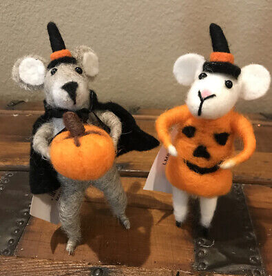 Bethany Lowe Halloween Witchy Mouse & Pumpkin Mouse-Felted Mice—Set of 2-retired