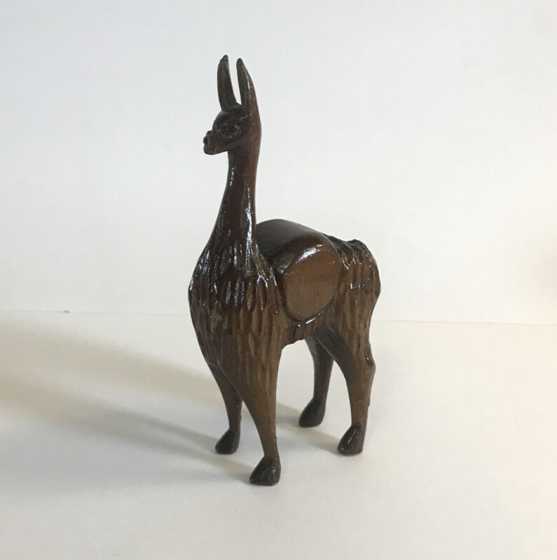 "Vintage Wood Llama Hand Carved Alpaca South America Figure Art Sculpture 6"" MCM"