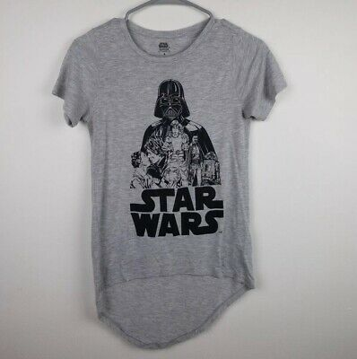 Star Wars Women's Top S Hi Lo Hem Shirt Sleeve Gray Graphic