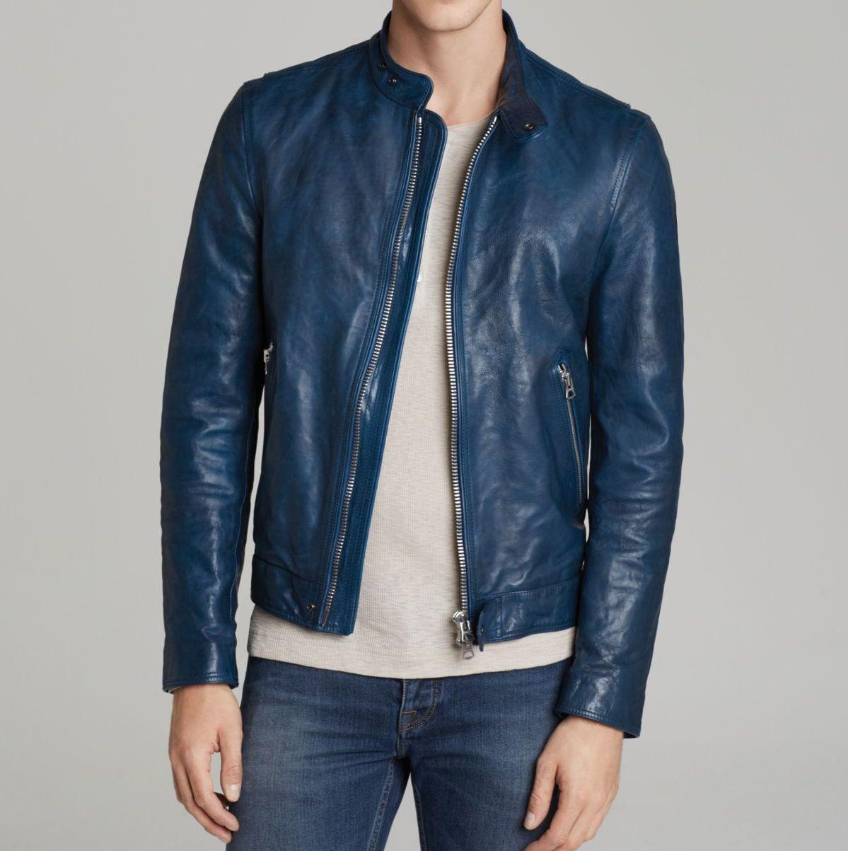 Prastara Men Blue Leather Jacket Biker Soft Lambskin Jacket