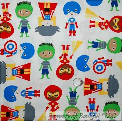 BonEful Fabric FQ Cotton Quilt Red White Blue USA Super Hero Boy Captain America (Captain America Girl Mask)