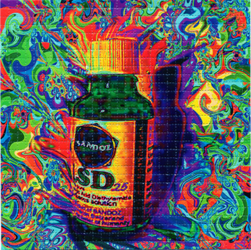 Sandoz Vial full color BLOTTER ART perforated sheet paper psychedelic art