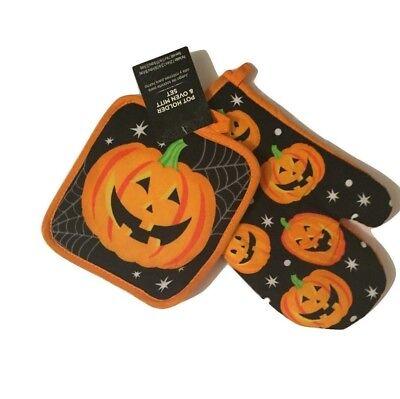 Happy Halloween Pumpkin Potholder Oven Mitt Set](Halloween Oven Mitts)