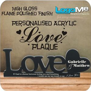 Personalised LOVE PLAQUE High Gloss Acrylic Quality Gift For Wedding Anniversary
