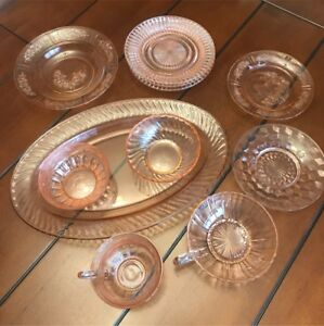 Assorted pink depression glass