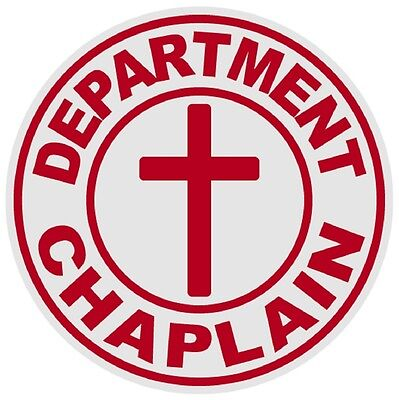 Department Chaplain Cross Small Round Reflective Emergency Firefighter Decal