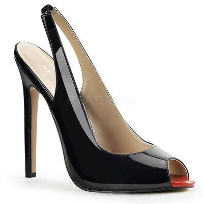 Sexy-08 erotische Pleaser Peep Toe High Heels Slingpumps schwarz Lack Gr 36-45 Pleaser Peep Toe Pumps