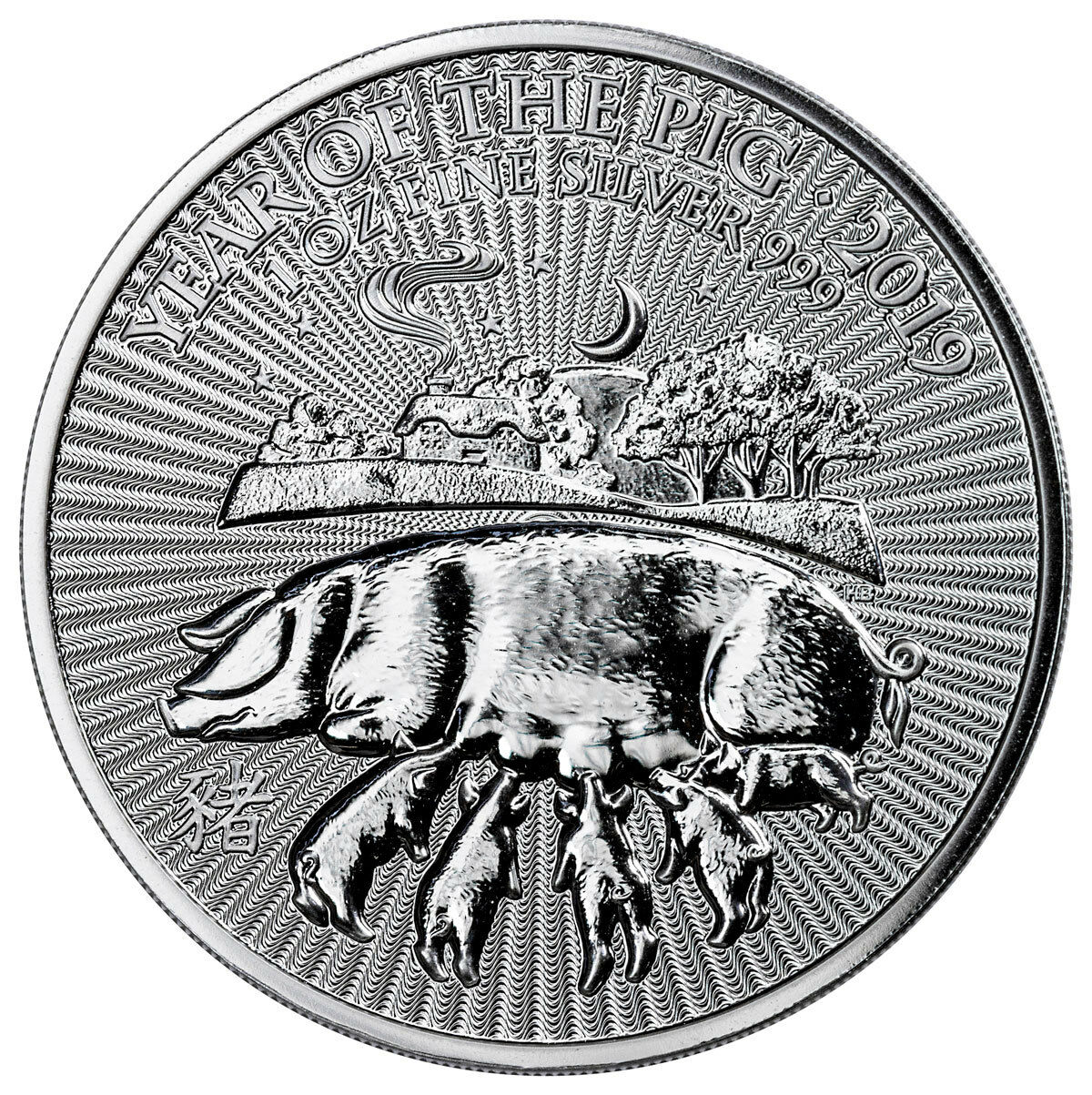 2019 Great Britain Year of the Pig 1 oz Silver Lunar £2 Coin GEM BU SKU55397