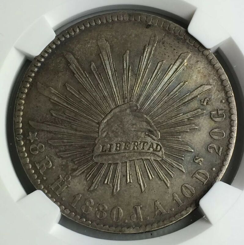 MEXICO 1880Ho JA Hermosillo 8 Reales NGC UNC DETAILS Cleaned. Silver, Cap & Rays