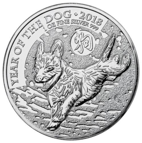 2018 Great Britain Year of the Dog 1 oz Silver Lunar £2 Coin BU In Cap SKU49502