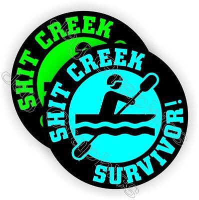 Funny Hard Hat Stickers | Sh*t Creek Survivor | Motorcycle Helmet Decal Survival