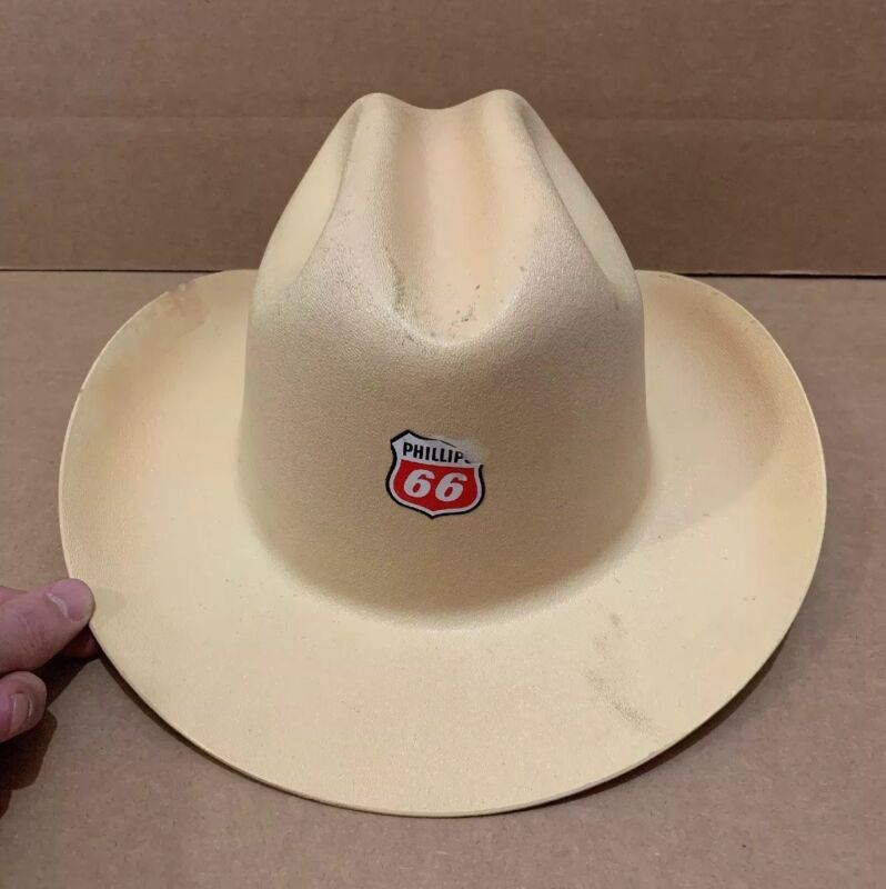 Phillips 66 Gas Station Cowboy Hard Hat Construction Oil Pump Farm Sign Vintage