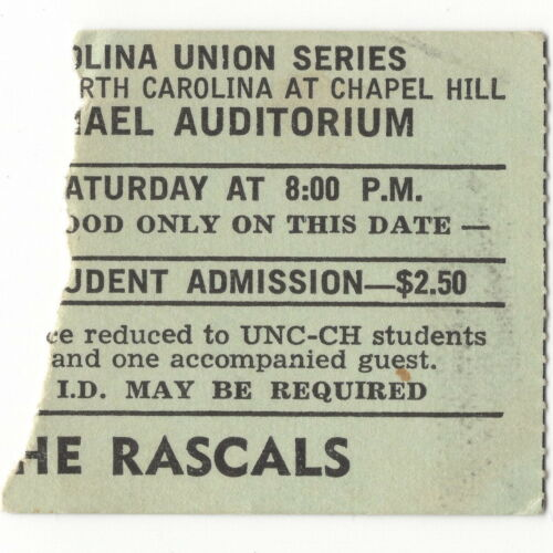 THE YOUNG RASCALS Concert Ticket Stub CHAPEL HILL NC 11/9/68 HOMECOMING Groovin