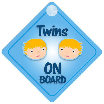 Twins Boys On Board Car Sign New Baby/Child Gift/Present
