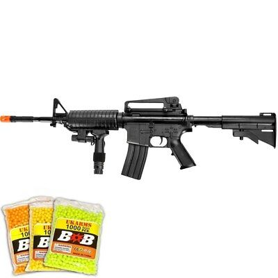 300 FPS AIRSOFT M4 M16 TACTICAL SPRING RIFLE GUN w/ 3,000 BBs BB & LASER SIGHT