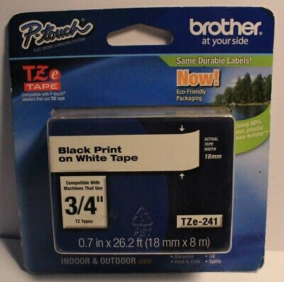 Brother Tze241 Black Print On White Laminated Tape For P-touch Label Maker