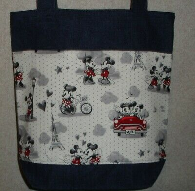 NEW Medium Denim Tote Bag Handmade/w Mickey Minnie Mouse Paris Fabric (Jean Fabric Purse)
