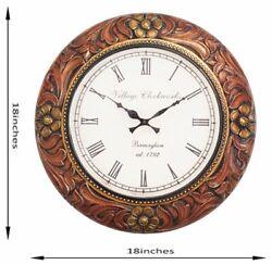 Wooden Analog Wall Clock Fancy Premium Home Decor Big Size Wall Clock