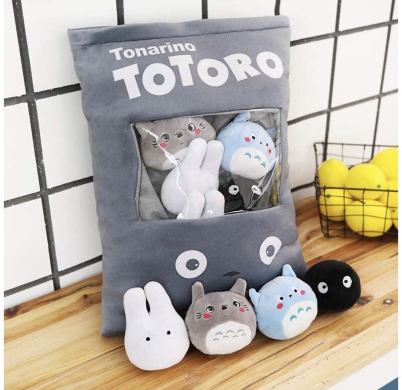 Totoro Plush Pillow Bag with 8 pieces of Fluffy Plush Dolls