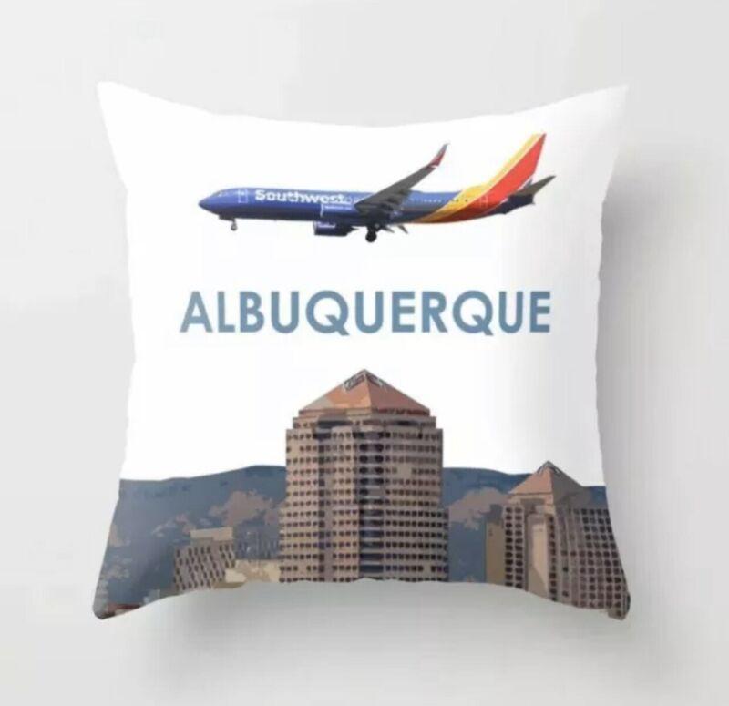 """Boeing 737 Over Albuquerque - Throw Pillow (16"""" x 16"""")"""