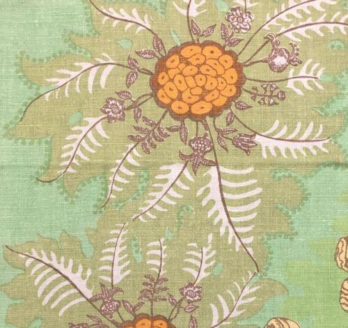 RAOUL TEXTILES Marquesas Pistache Natural Linen Floral Remnant New