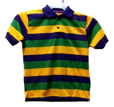 Mardi Gras Stripe Purple Green Yellow Knit 2XL Adult 2X SS Polo Shirt - Striped Mardi Gras Shirts