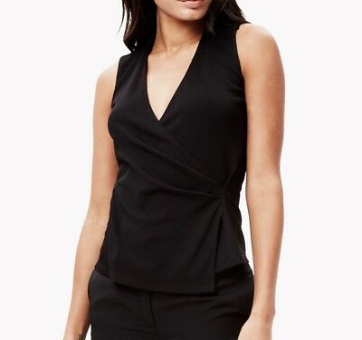 New Black Theory Karlista K Sleeveless Crepe Wrap Shirt Size Small MSRP $255 ()