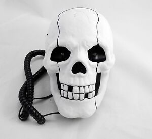 Human-Head-Skull-Shape-Flashing-Novelty-Home-Phone-Wired-Telephone-white-i