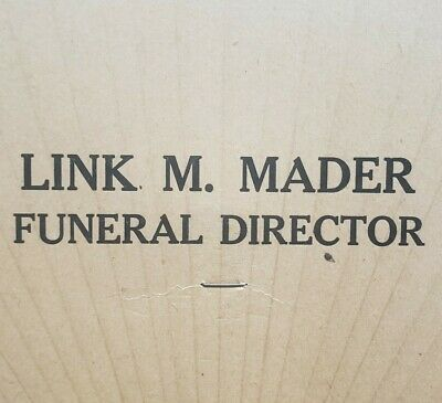 Link M Mader Funeral Director Hand Held Advertising Fan Vintage Circleville Ohio