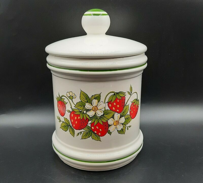 """Vintage Sears Strawberry Fields Canister 9"""" Made in Japan"""