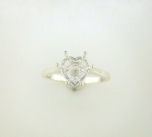 Heart Shape Deep Cut Solitaire Ring Setting Sterling Silver
