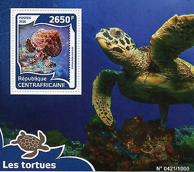 CENTRAL AFRICAN REPUBLIC 2016 MNH TURTLES 1V S/S REPTILES HAWKSBILL SEA TURTLE