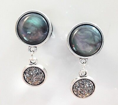 Pair of UNIQUE Marbled Dangle EAR Gauges Tunnels earlets Abstract Plugs  Gem