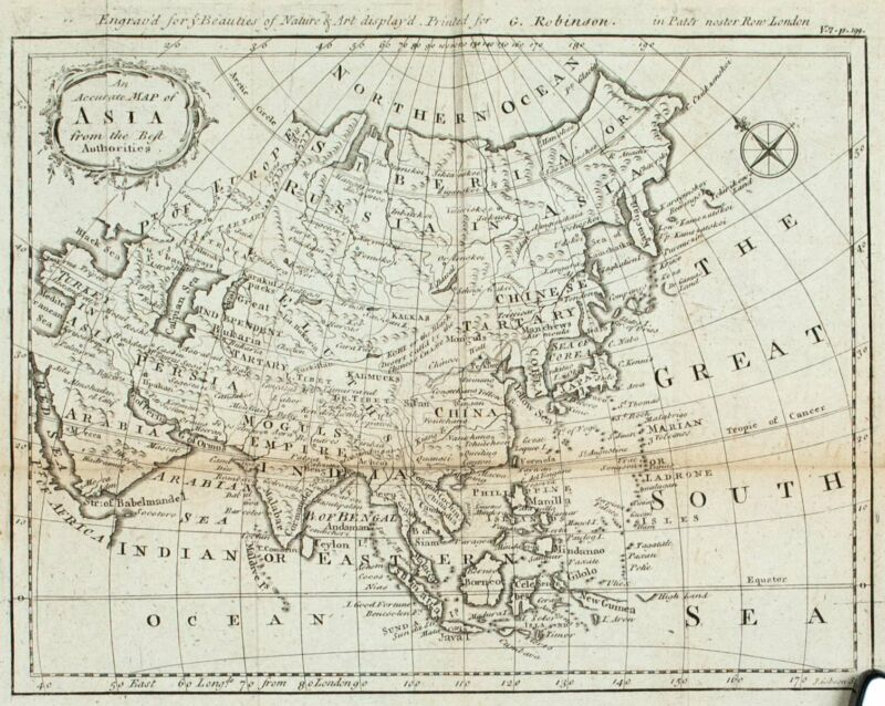 1774 Map of Asia J Gibson Antique