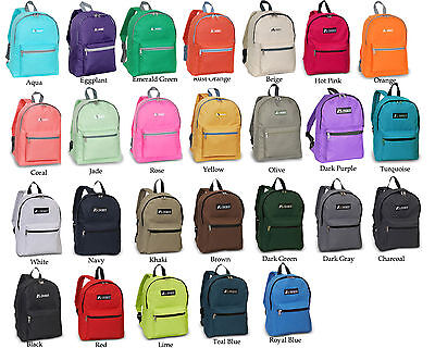 NEW Authentic Everest Classic Basic Student Backpack Medium Black Blue Grey Red
