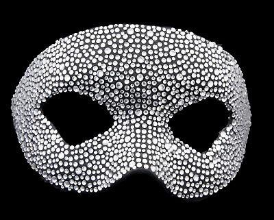 Mask from Venice Colombine Crystal Silver Rhinestone Swarovski Paper Mache 22383