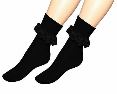 Cheerleader Costume For Adults (3 & 6 Prs FRILLY ANKLE LACE SOCKS FOR LADIES DANCING  ADULT SIZE TO FIT DANCING)