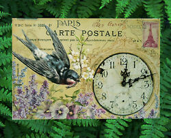 Carte Postale French Postcard Wall Clock Swallow Bird Pocket Watch Vintage Look