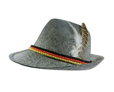 German Hats Oktoberfest (Adult German Alpine Bavarian Oktoberfest Tyrolean Hat Feather Lederhosen)