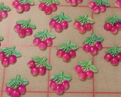 6 Vintage Hand Painted Celluloid Cherry Fruit Japan 12mm x (Hand Painted Cherry)