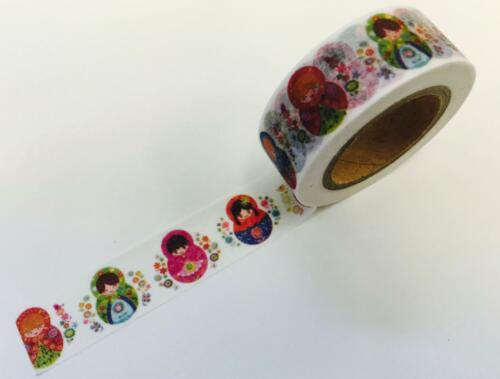 Colorful Russian Matryoshka Dolls Washi Tape Papercraft Planner Supply journal