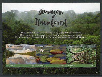 Guyana 2017 MNH Amazon Rainforest 3v M/S I Trees Plants Nature Stamps